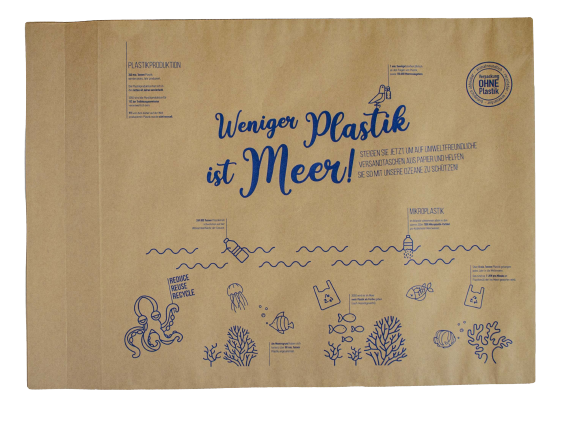 Weniger Plastik ist Meer Versandtasche Biobiene